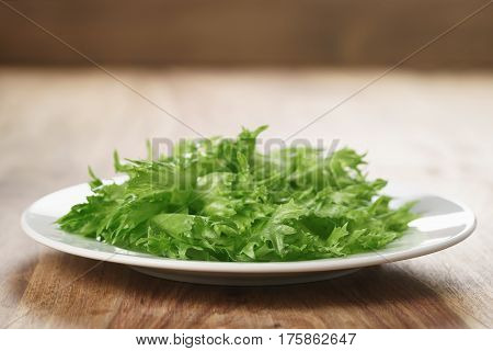 green frillies lettuce on white plate on wooden table, closeup photo