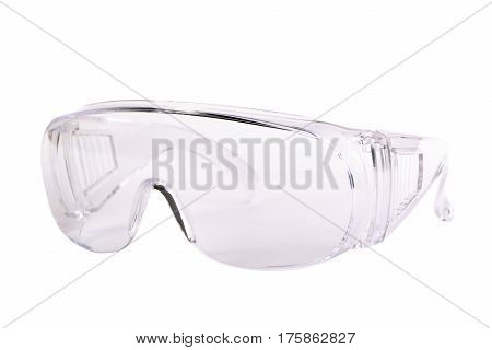 Transparent safety glasses isolated on white background