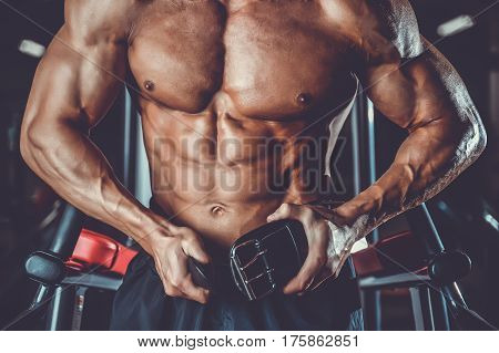 Brutal Bodybuilder Powerful Training Arms, Pectorals And Shoulders In Gym