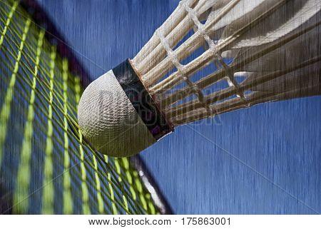 Closeup badminton shuttlecock and racket vintage collage.