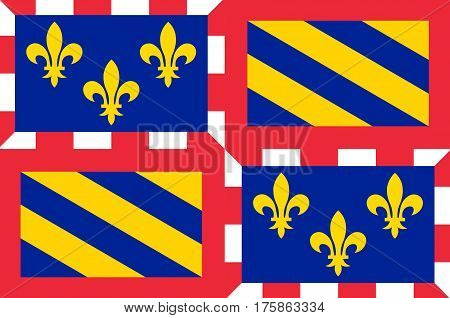Flag of Burgundy historical area and the region of east-central France. Administrative center - the city of Dijon