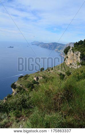 Beautiful coastal views along Italy's Amalfi Coast in Italy.