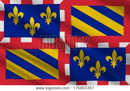 Flag of Burgundy historical area and the region of east-central France. Administrative center - the city of Dijon. 3D illustration