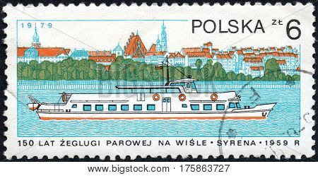UKRAINE - CIRCA 2017: A stamp printed in POLAND shows 150 Years of steam navigation on the Vistula River chip Syrena 1959 circa 1979