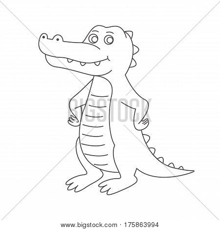 Crocodile for coloring book.Isolated on white background.Line art design.Vector illustration