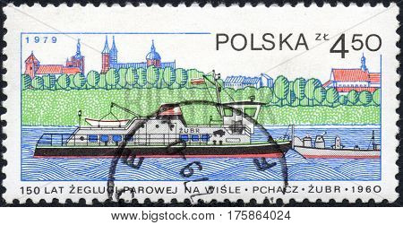 UKRAINE - CIRCA 2017: A stamp printed in POLAND shows 150 Years of steam navigation on the Vistula River Pusher Zubr circa 1979