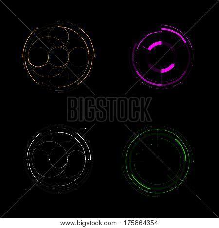 Hud Futuristic Template. Light Digital Of Technology Design. Vector Stock.
