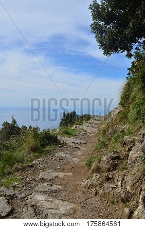 Long hiking trail along the Amalfi Coast known as the Path of Gods.