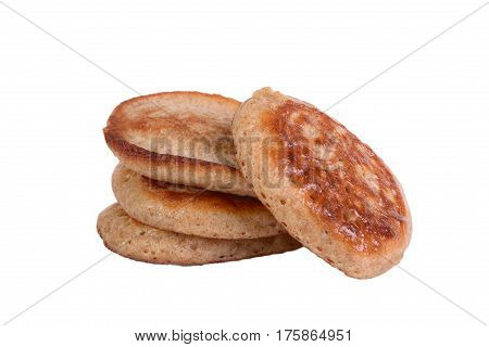 Wholegrain flour fritters isolated on the white