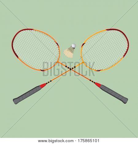 Badminton set. Classic wooden racquets rackets and a shuttlecock.