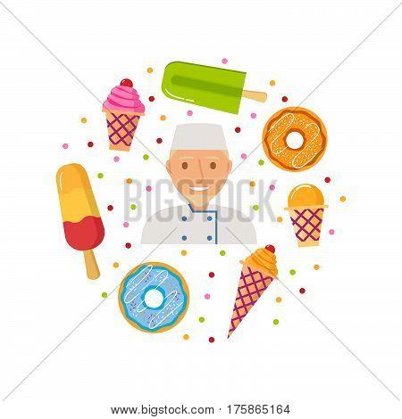 Vector  cartoon with a wafer cup of ice cream, an eskimo a donut