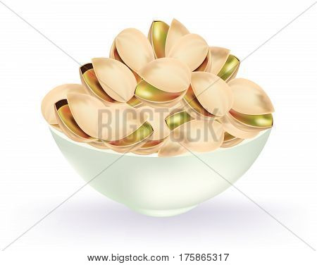 Bowl of pistachios on a white background