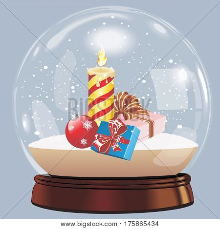 vector illustration of snow globe ball realistic new year chrismas object isolated on white with shadow. Christmas ball with snow