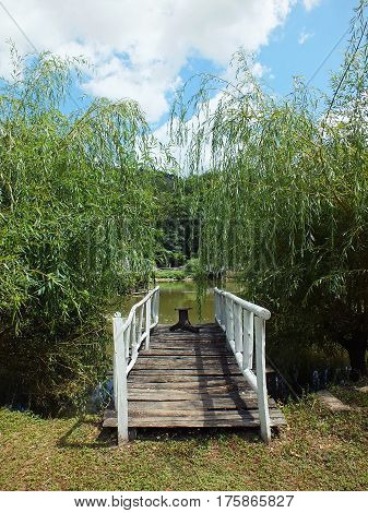 Wooden bridge leading to the lake. Rural scene