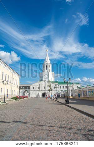 KAZAN RUSSIA - JUNE 25 2016: Spasskaya tower of Kazan kremlin at Tatarstan republic Russia.