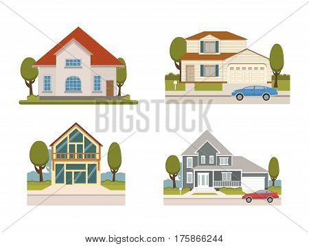 Vector flat set of country houses and chalet collection for booking and living and apartment set. Tourist homes isolated.Suburban houses collection of different construction and architecture