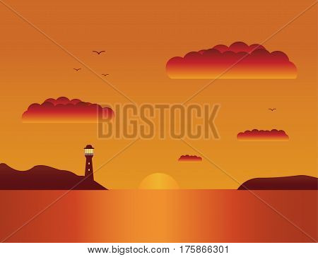 Vector a flat landscape a summer sunset at the sea.Beautiful beach tropical  sunset landscape.Sunset over the sea.Seascape with a view from a bay on a beacon and the sun coming for the horizon.