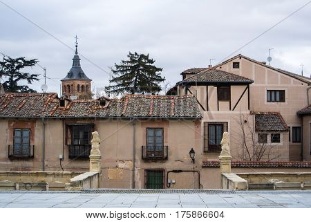 A Medieval Square With Old Decorated Houses At The Historical Center Of Segovia, Castille And Leon,