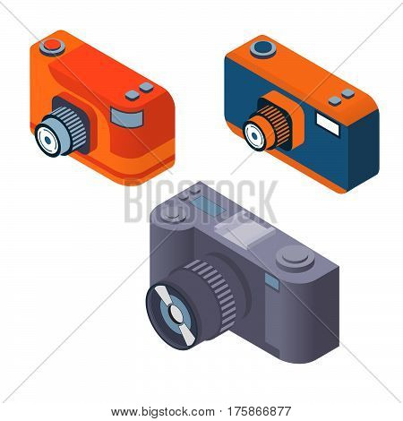 Digital photo camera set flat 3d vector isometric.The objects are isolated.SLR .