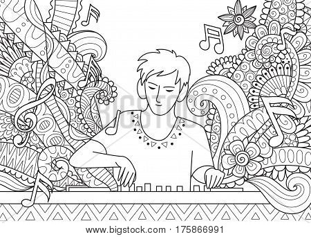 Young Dj playing music on his show for coloring page,banner,T-Shirt design and other design element.