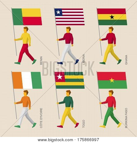 People With Flags Mali, Sierra Leone, Guinea, Gambia, Senegal, Guinea-bissau