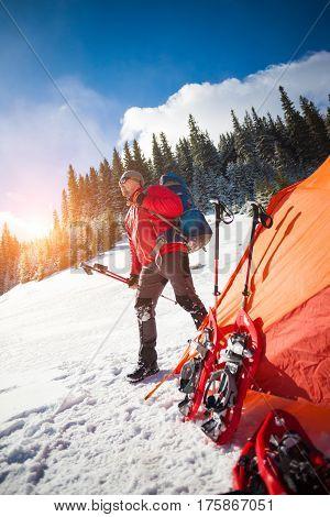 Climber Near The Tent.