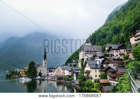 Amazing View Of Famous Hallstatt Village In The Austrian Alps At Salzkammergut Region, Austria
