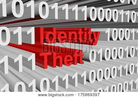 identity theft is presented in the form of binary code 3d illustration