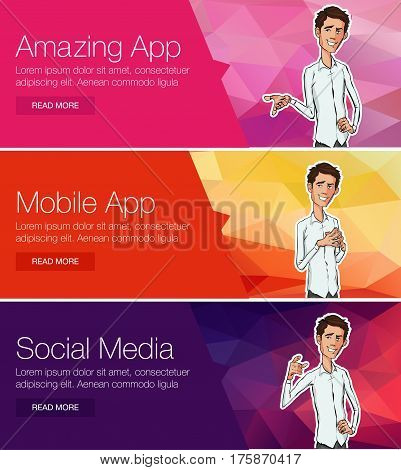 Vector illustration for web banners and promotional materials. Website headers promotion banners. Flat design concept for cloud computing mobile payments and project team. Showing mobile phone.
