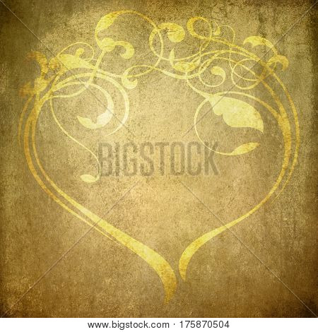 floral ornament texture create a heart shape on old ocher colored paper