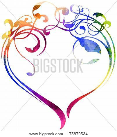 floral rainbow colored ornament texture create a heart shape on white background