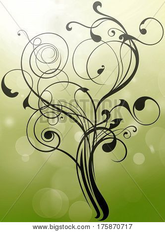 floral flourish ornament texture create a tree shape on light green textured background