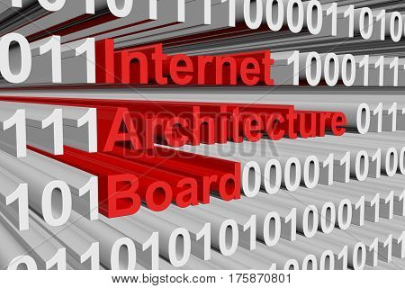 Internet Architecture Board is presented in the form of binary code 3d illustration