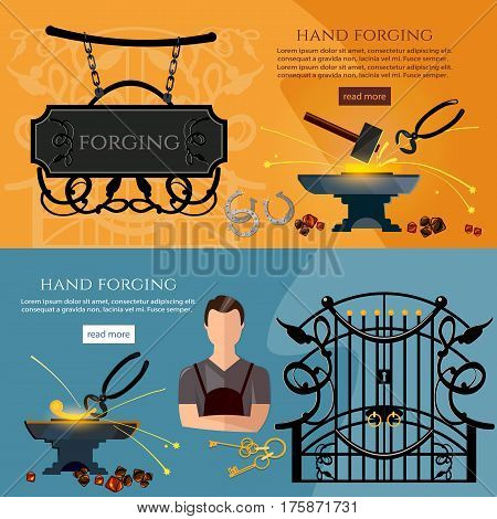 Professional smith banner. Iron works concept. Forging on gland creation of iron fencings and fences. Blacksmith hammer and anvil work in smithy