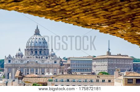 Rome, 7Th July 2013. Visiting The Basilica San Pietro (saint Peter Church). View From San Angelo Cas