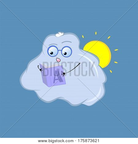 Cute cloud character vector sticker. Hand-drawn illustration for weather forecast school book education banner. Reading geek character in glasses with open book. Surprised or interested emotion