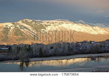 Wasatch Front mountains, Utah in evening light