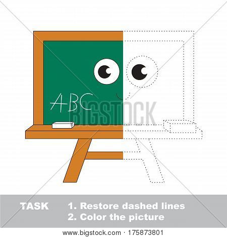 Green Board. Dot to dot educational game for kids. Half tracing worksheet to be colored.