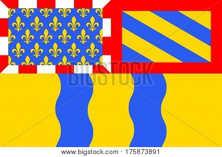 Flag of Saone et Loire - department in eastern France a department of the Burgundy region. The administrative center - Macon. Vector illustration