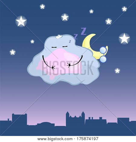 Cute cloud character cartoon vector illustration. Sleepy cloud above retro town rooftop. Night sky with shiny stars and cloud with moon. Cute cloud character sleep with pillow. Vintage town background