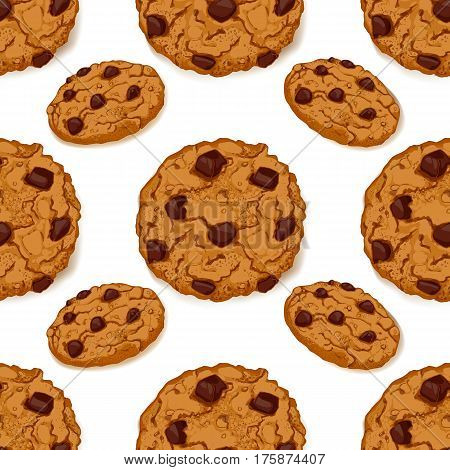 Seamless pattern with delicious chocolate chip cookies. Hand made hand drawn cookies on white background. Vector illustration