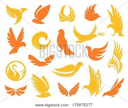 Isolated abstract yellow and orange color birds silhouettes logos collection on white background, wings and feathers elements logotypes set vector illustration.
