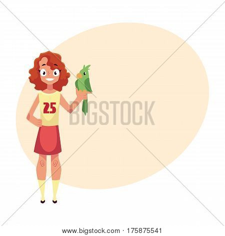 Teen, teenage girl standing and holding green parrot pet, friend, companion, cartoon vector illustration with place for text. Full length portrait of girl with green parrot pet