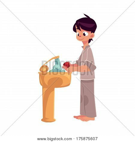 Little boy in pajamas washing hands with soap under running water, hygiene concept, cartoon vector illustration isolated on white background. Boy washing hands, hygiene, health care concept