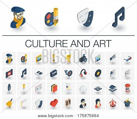 Isometric flat icon set. 3d vector colorful illustration with culture, art, literature symbols. Artist palette, theatre, cinema and music, circus, magic colorful pictogram Isolated on white