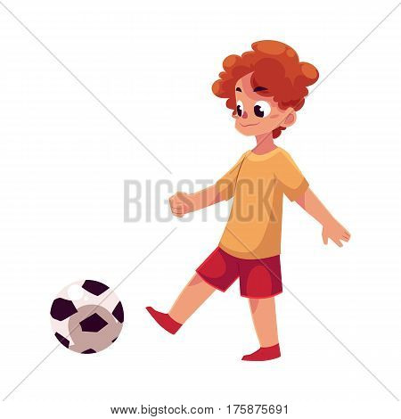 Teenage Caucasian boy kicking football ball, cartoon vector illustration isolated on white background. Boy playing football, kicking ball, having fun at the playground