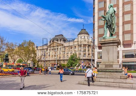 BUDAPEST HUNGARY - APRIL 14 2016: View of Hotel Sofitel Budapest Chain Bridge and Ministry of the Interior a luxury hotel on the Grand Boulevard on April 14 2016 in Budapest Hungary.