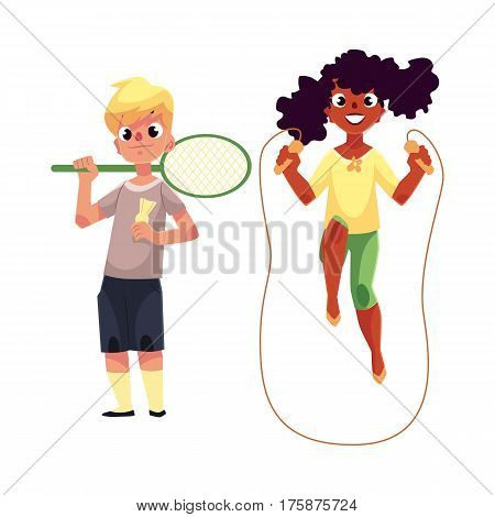 Black African girl and Caucasian boy playing with jumping rope and badminton racket at playground, cartoon vector illustration isolated on white background. Friends having fun at the playground