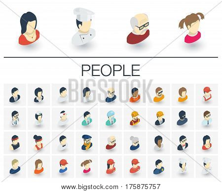 Isometric flat icon set. 3d vector colorful illustration with people avatars symbols. Social media user profile, profession, manager, doctor, cook, old man, artist colorful pictogram Isolated on white
