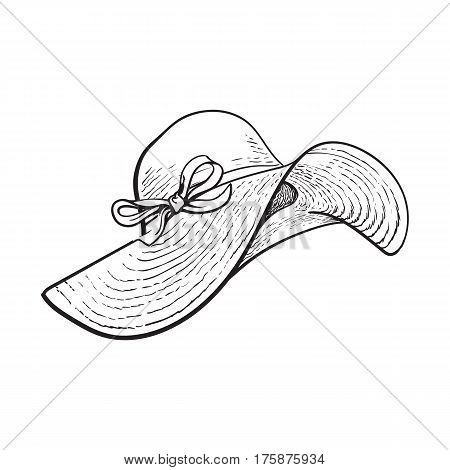 Fashionable straw hat with wide flaps, summer vacation attribute, sketch black and white vector illustration isolated on white background. Hand drawn floppy straw hat, symbol of summer vacation